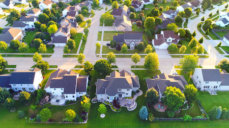 Exceptionally beautiful neighborhoods, homes, aerial view at sunrise.